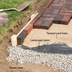 Installing Edging - Patio & Wall Installation: Tips, Techniques - Patios, Walkways, Walls & Masonry. DIY Advice {Just in case my patio ever starts acting up and needs some rework} Patio Wall, Diy Patio, Backyard Patio, Backyard Retreat, Outdoor Projects, Garden Projects, Sewing Projects, Diy Projects, Paver Walkway