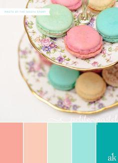 aqua and mint color pallat | ... pastel-macaron-inspired color palette // coral, peach, mint, aqua