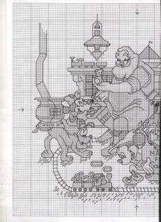 Cross-stitch - Santa with Mickey, Minnie, Pluto, and Goofy, part 1 of 3...  color chart on part 3