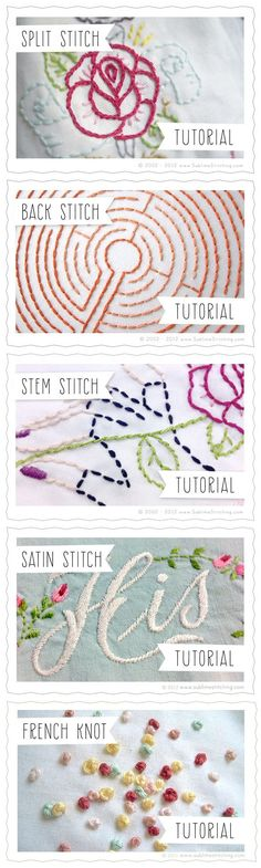 Embroidery Stitches Tutorials {Sublime Stitching} Split Stitch, Back Stitch, Stem Stitch, Satin Stitch, French Knot