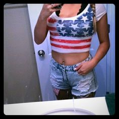 America outfit Crop top size M on tag fits size small/xs mall Forever 21 shorts high waisted size 26 Forever 21 Pants