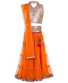 Buy Babyhug Halter Neck Choli And Lehenga Set Orange for Girls (0-12 Months) Online in India, Shop at FirstCry.com - 413749 Indian Outfits, Indian Clothes, Indian Sarees, Halter Neck, Lehenga, Ethnic, Two Piece Skirt Set, Summer Dresses, Orange