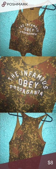 Camo Obey tank Camo obey tank top, great condition, size Large but fits more like a medium. Used Obey Tops Tank Tops