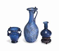 THREE ROMAN BLUE GLASS VESSELS | CIRCA 1ST-3RD CENTURY A.D. | Ancient Art & Antiquities Auction | 1st Century, Ancient Art & Antiquities | Christie's