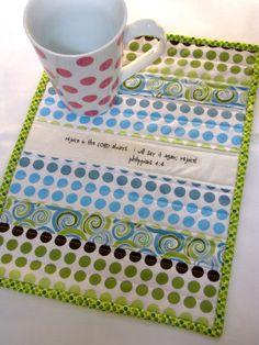 Scripture in a mug rug