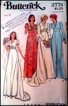 Butterick 3774 Misses' Bridal Gowns Bust 31.5 by ThePatternShopp
