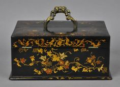 VICTORIAN PAPIER MACHE & GILT WRITING BOX WITH FITTED INTERIOR AND INK BOTTLES