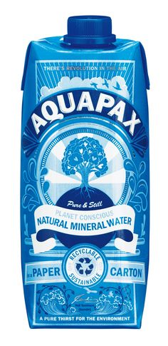 Aquapax Natural Mineral Water in a Paper Carton Water Packaging, Water Branding, Cool Packaging, Beverage Packaging, Bottle Packaging, Brand Packaging, Design Packaging, Mineral Water Brands, Natural Mineral Water