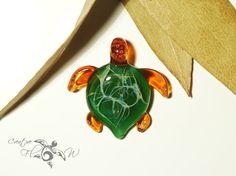 Amber Bush Turtle - Glass Art Pendant by Creative Flow Glass.