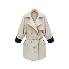 Yoins Plus Size Beige Tie-Waist Trench Coat (3,465 INR) ❤ liked on Polyvore featuring outerwear, coats, coats & jackets, white, white oversized coat, plus size trench coat, white trench coat, plus size coats and women's plus size coats