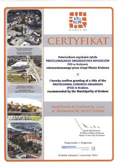 We are proud to present our Title of Professional Congress Organizer (PCO)  recommended by the Municipality of Cracow
