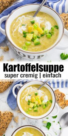 Potato soup is simply the perfect feel-good food for cold days! My potato soup is super creamy, filling and ready in under 30 minutes! A great dinner and one of my favorite soup recipes! via vegetarisch lifestyle recipes grillen rezepte rezepte schnell Soup Recipes, Vegetarian Recipes, Dinner Recipes, Healthy Recipes, Vegan Vegetarian, Vegan Potato Soup, Vegan Soups, Best Foods For Colds, Feta