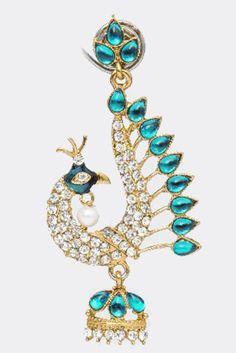 Aqua & White Peacock Earrings