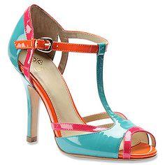 Isola 'Badre' Aqua/Neon Pink/Mente Patent Leather T-Strap Peep-toe Sandal