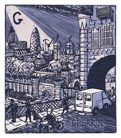 """""""G - The Gherkin"""" from """"London A-Z"""" Complete Boxed Set linocuts by Tobias Till, 2012. http://www.tobias-till.co.uk/. Tags: Linocut, Cut, Print, Linoleum, Lino, Carving, Block, Woodcut, Helen Elstone, Buildings, Architecture, Vehicles, Bridge, people, 30 St Mary Axe, Swiss Re Building."""