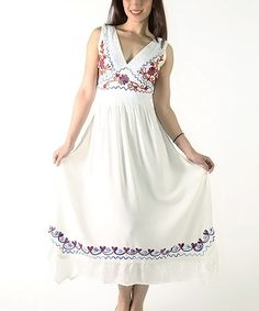 Another great find on #zulily! Off-White Embroidered V-Neck Maxi Dress - Plus #zulilyfinds