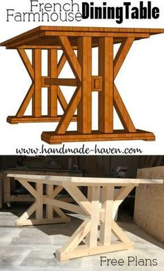 French Farmhouse Dining Table for the home kitchen or dining room! - Woodworking Projects Crafts - French Farmhouse Dining Table for the home kitchen or dining room! Cool Woodworking Projects, Learn Woodworking, Popular Woodworking, Woodworking Furniture, Furniture Plans, Woodworking Plans, Diy Furniture, Wood Projects, Youtube Woodworking
