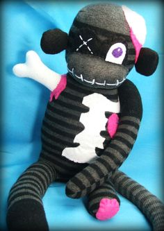 Emily The Zombie Sock Monkey - Halloween Handmade Plush Doll Toy - Free Gift Tag Included. $40.00, via Etsy.