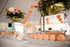 Peach pompoms and macaroons | Blair Gable Photography