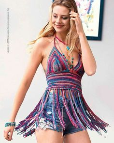 Fabulous Crochet a Little Black Crochet Dress Ideas. Georgeous Crochet a Little Black Crochet Dress Ideas. Crochet Crop Top, Love Crochet, Diy Crochet, Crochet Bikini, Hippie Style Clothing, Bikini Modells, Bikini Dress, Look Boho, Crochet Fashion