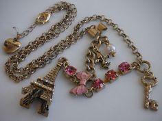 BETSEY JOHNSON Necklace Eiffel Tower Pink Rhinestones Bow Fleur De Lis