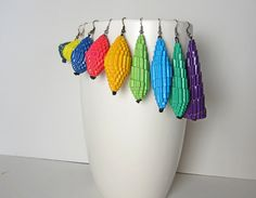 Corrugated Paper Earrings in bright colors by PAPER STATEMENT on Etsy.