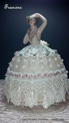 Francine ~ Porcelain Half Doll Pincushion ~ Dresser Doll ~ Collectible, OOAK signed & Dated