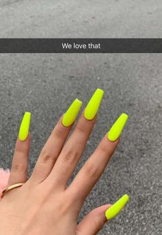 Top 55 coffin nails ideas for this summer 2019 16 Top 55 coffin nails ideas for this summer 2019 16 Aycrlic Nails, Neon Nails, Neon Yellow Nails, Lime Green Nails, Matte Nails, Black Nails, Swag Nails, Glitter Nails, Best Acrylic Nails