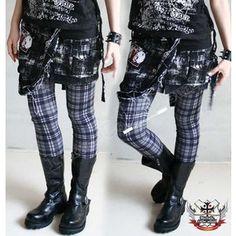 Punk Goth Gray Tartan Plaid Cigarette Thermal Leggings S.M.L