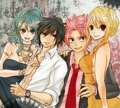 Natsu and Lucy with Gray and Juvia <3 They look so good with each other ;D