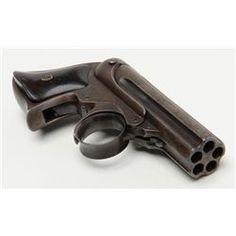 "Remington-Elliot ""Pepperbox"" Derringer, .22 cal., 5 shot 3"" barrels, blue finish, wood grips, #6927"