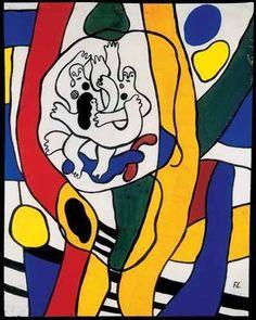 fernand Leger expositor del orfismo o cubismo que incluye colores llamativos