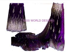 Purple Velvet African Wedding lace Nigerian by TessWorldDesigns