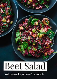 This colorful salad features raw beets, spinach, edamame and quinoa! Healthy and so delicious. (I made that cute text overlay with my partner Adobe's new iPhone app, Spark Post!) cookieandkate.com