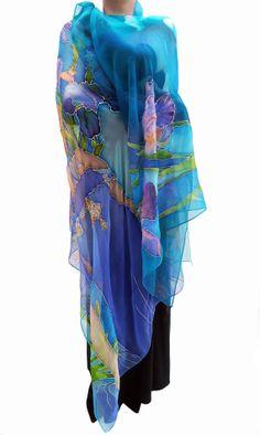 Hand Painted Silk Chiffon Scarf Wrap Blue by HermitageArtToWear, $300.00