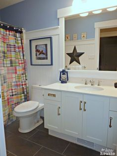 The Happy Housie Home Tour for Primitive and Proper Main Bathroom
