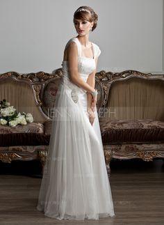 Forme Princesse Encolure carrée Longueur ras du sol Tulle Robe de mariée avec Plissé Emperler (002011588) - JennyJoseph