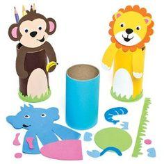 Kit Portamatite Fai Da Te con Animali della Giungla per Bambini da Creare, Decorare ed Personalizzare come Idea Creativa Estiva (confezione da 4)