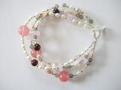 Garnet Labradorite Quartz and Freshwater Pearl Bracelet by LostElephantDesigns on Etsy