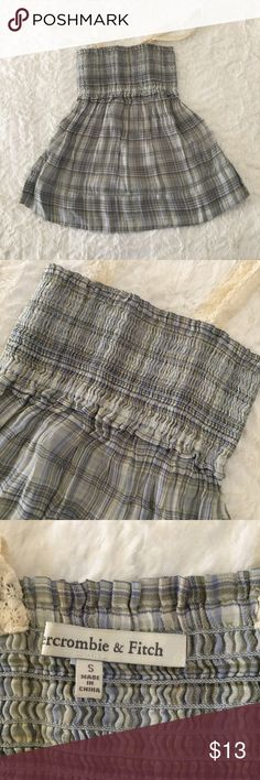 Abercrombie & fitch plaid tank top Babydoll style Camisoles size S, good condition. Blue plaid with 2 lacy straps. Top part comes with stretch Abercrombie & Fitch Tops Camisoles