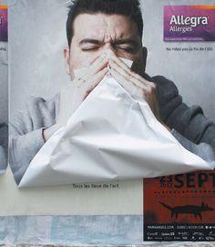 Publicité francophone contre les allergies et les ventes de mouchoirs
