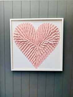 Large 30 Inch Pink paper feather Heart Pink Heart Wall Art | Etsy Girls Room Wall Decor, Nursery Wall Art, Wall Art Decor, Butterfly Wall Art, Paper Butterflies, White Shadow Box, Paper Feathers, 3d Paper Art, Heart Wall Art