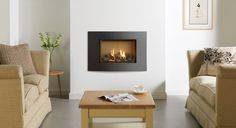 The compact proportions of the high efficiency Gazco 500 gas fire can be extended to add a greater focus on the wall by styling it with the new Verve XS, a contemporary frame with unmistakable flair. Small Gas Fireplace, Home Fireplace, Modern Fireplace, Living Room With Fireplace, Fireplaces, Fireplace Ideas, Living Room Built Ins, Home Living Room, Living Room Furniture