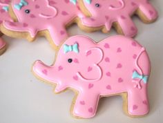 Pretty Pink Elephants Cookies ~ ADORABLE!