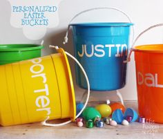 Make personalized Easter buckets for your kids using your Cricut. Learn how at www.thehappyscraps.com