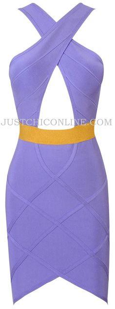 "The ""Kandi"" Lilac & Gold Keyhole Bandage Dress $159.00"