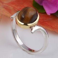 925 SOLID STERLING SILVER EXCLUSIVE TIGER EYE RING 3.13g DJR5960 #Handmade #Ring