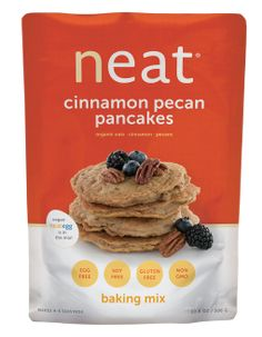 Neat Cinnamon Pecan Pancakes Mix plant-based pancakes, made with the neat egg in the mix. Gluten-free, soy-free, non-gmo and healthy as they are delicious.