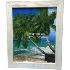 Peinture d'un paysage tropical, créant ainsi de la chaleur, par l'artiste peintre Lyne Thériault. Simplicité, beauté et harmonie au rendez-vous, cadeau idéal.