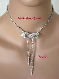 Vintage MARCEL  BOUCHER Necklace  Clear  Rhinestones  Bow Design Simply Elegant